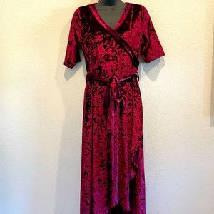 Crazy Train Red Crushed Velvet Wrap Dress M